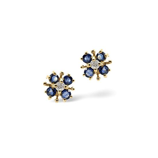 Kanchan Sapphire & 0.06CT Diamond Earrings 9K Yellow Gold