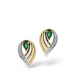Emerald & 0.02CT Diamond Earrings 9K Yellow Gold Reviews