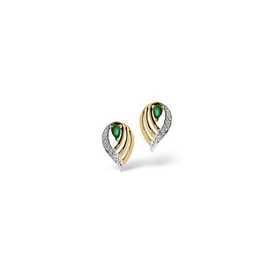 Emerald & 0.02CT Diamond Earrings 9K Yellow Gold