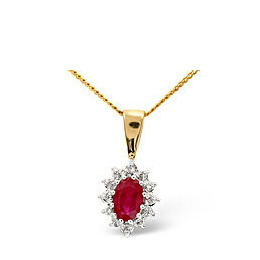 Ruby & 0.04CT Diamond Pendant 9K Yellow Gold Reviews