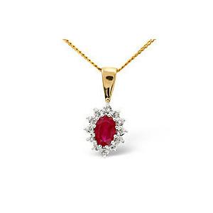 Photo of Ruby & 0.04CT Diamond Pendant 9K Yellow Gold Jewellery Woman