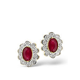 Ruby & 0.20CT Diamond Earrings 9K Yellow Gold Reviews