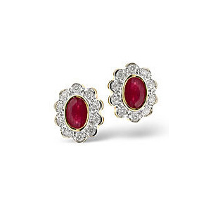 Photo of Ruby & 0.20CT Diamond Earrings 9K Yellow Gold Jewellery Woman
