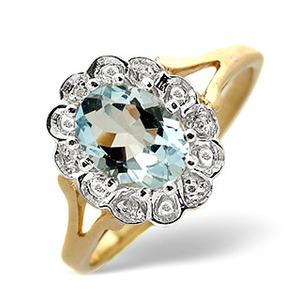 Photo of Aqua Marine & 0.19CT Diamond Ring 9K Yellow Gold Jewellery Woman
