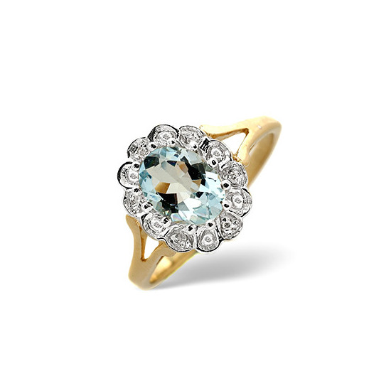 Aqua Marine & 0.19CT Diamond Ring 9K Yellow Gold