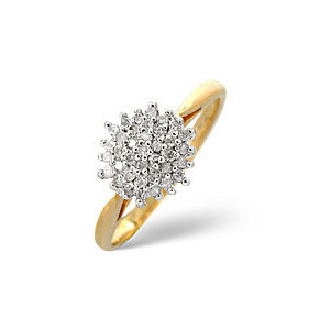 Photo of Cluster Ring 0.25CT Diamond 9K Yellow Gold Jewellery Woman