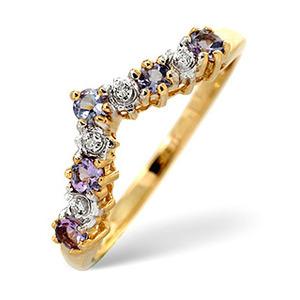 Photo of Tanzanite & 0.13CT Diamond Ring 9K Yellow Gold Jewellery Woman