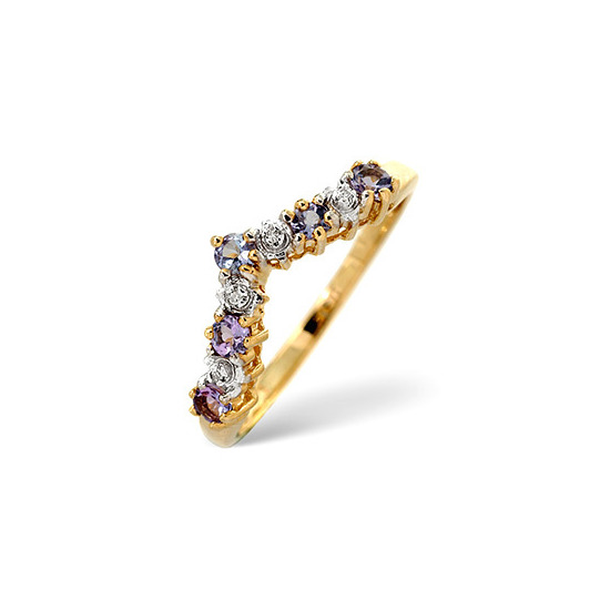 Tanzanite & 0.13CT Diamond Ring 9K Yellow Gold