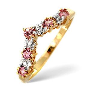 Photo of Pink Sapphire & 0.13CT Diamond Ring 9K Yellow Gold Jewellery Woman