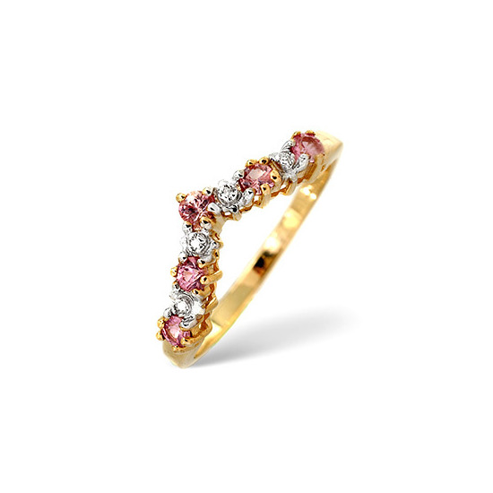 Pink Sapphire & 0.13CT Diamond Ring 9K Yellow Gold
