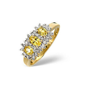 Photo of Yellow Sapphire & 0.23CT Diamond Ring 9K Yellow Gold Jewellery Woman