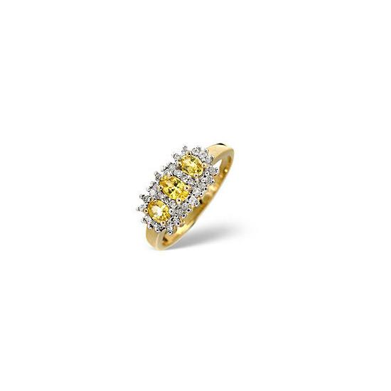Yellow Sapphire & 0.23CT Diamond Ring 9K Yellow Gold