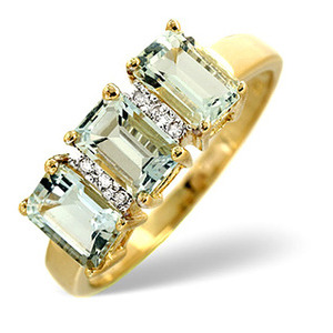 Photo of Aqua Marine & 0.02CT Diamond Ring 9K Yellow Gold Jewellery Woman