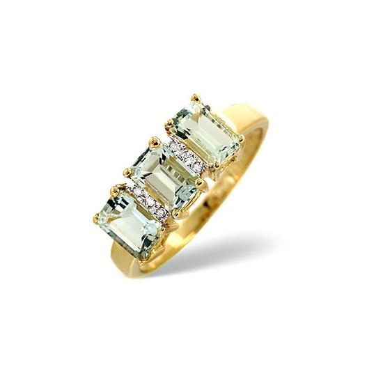 Aqua Marine & 0.02CT Diamond Ring 9K Yellow Gold