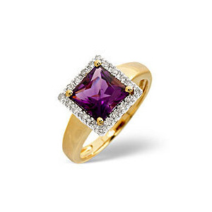 Photo of The Diamond Store Amethyst 0 17CT Diamond Ring 9K Yellow Gold Jewellery Woman