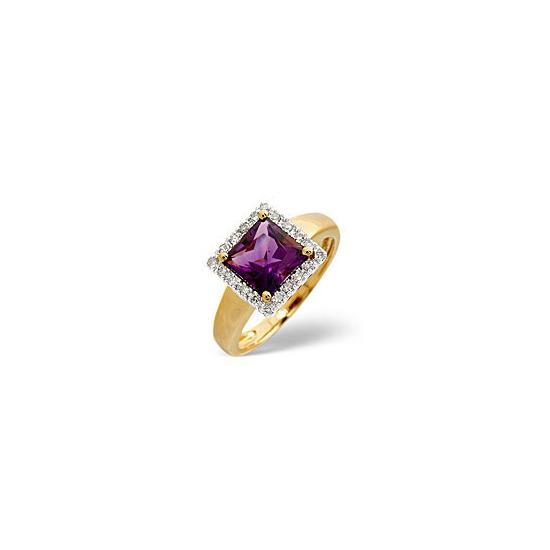 The Diamond Store Amethyst 0 17CT Diamond Ring 9K Yellow Gold