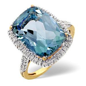 Photo of Blue Topaz & 0.22CT Diamond Ring 9K Yellow Gold Jewellery Woman
