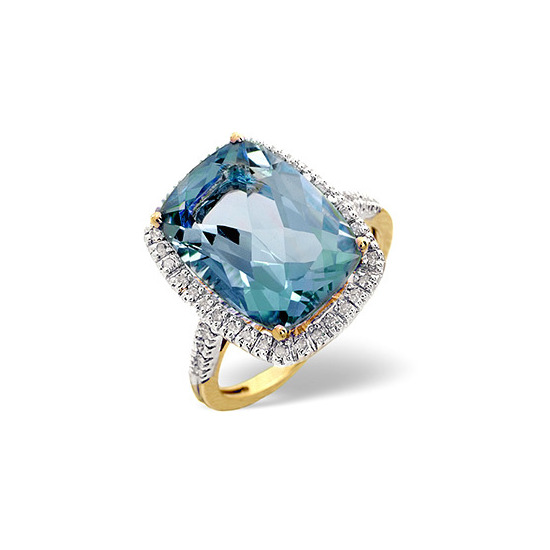 Blue Topaz & 0.22CT Diamond Ring 9K Yellow Gold