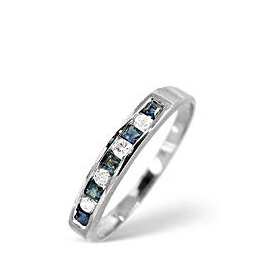 Sapphire & 0.03CT Diamond Ring 9K White Gold Reviews