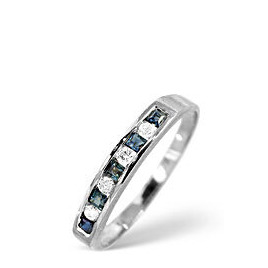Sapphire & 0.03CT Diamond Ring 9K White Gold Reviews