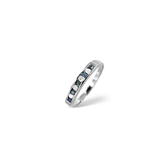 Sapphire & 0.03CT Diamond Ring 9K White Gold