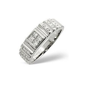 Photo of Mens Ring 0.56CT Diamond 9K White Gold Jewellery Men
