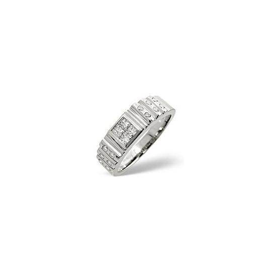 Mens Ring 0.56CT Diamond 9K White Gold