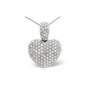 Photo of Heart Pendant 2.05CT Diamond 9K White Gold Jewellery Woman