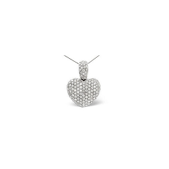 Heart Pendant 2.05CT Diamond 9K White Gold