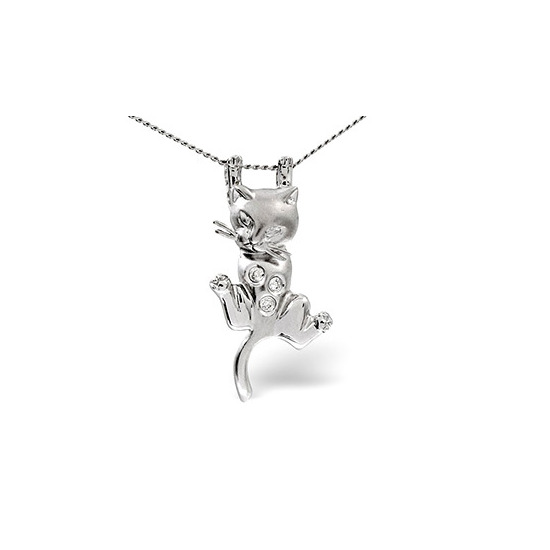 Animals Pendant 0.04CT Diamond 9K White Gold