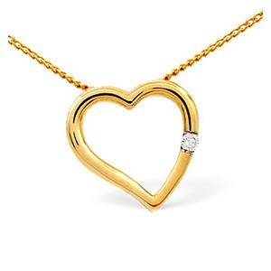 Photo of Heart Pendant 0.03CT Diamond 9K Yellow Gold Jewellery Woman
