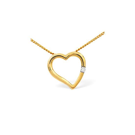 Heart Pendant 0.03CT Diamond 9K Yellow Gold