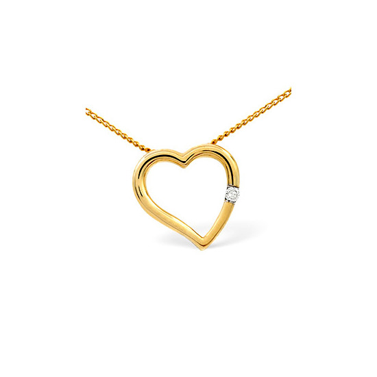 Heart Pendant 0.03CT Diamond 9K Yellow Gold