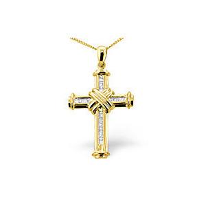 Photo of Cross Pendant 0.26CT Diamond 9K Yellow Gold Jewellery Woman