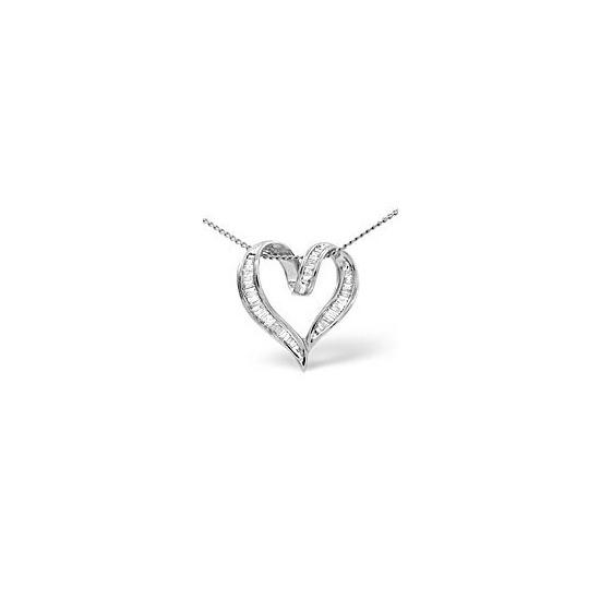 Heart Pendant 0.33CT Diamond 9K White Gold