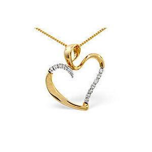 Photo of Heart Pendant 0.15CT Diamond 9K Yellow Gold Jewellery Woman