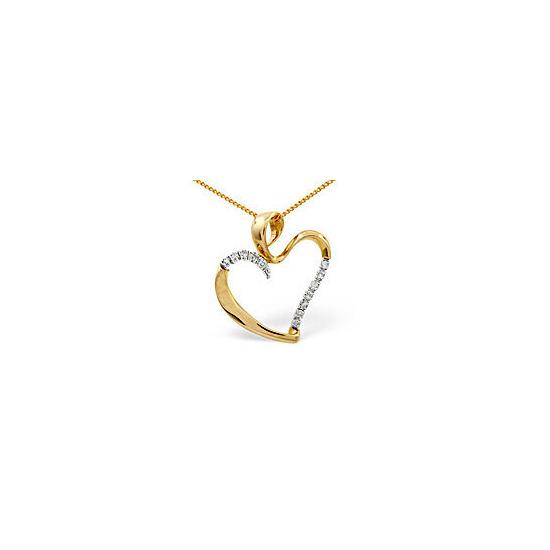 Heart Pendant 0.15CT Diamond 9K Yellow Gold