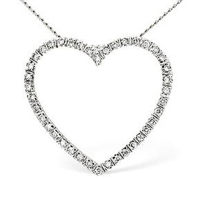 Photo of Heart Pendant 0.30CT Diamond 9K White Gold Jewellery Woman