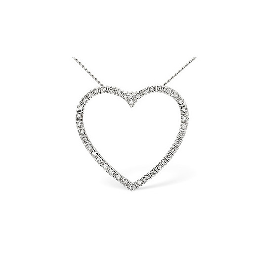 Heart Pendant 0.30CT Diamond 9K White Gold