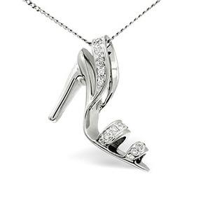Photo of Slippers Pendant 0.10CT Diamond 9K White Gold Jewellery Woman