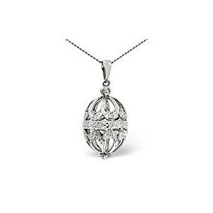 Photo of Egg Pendant 0.11CT Diamond 9K White Gold Jewellery Woman