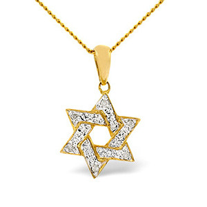 Photo of Jewish Pendant 0.02CT Diamond 9K Yellow Gold Jewellery Woman