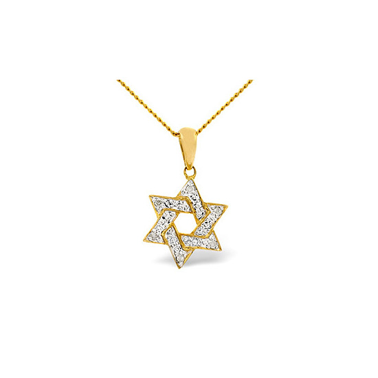Jewish Pendant 0.02CT Diamond 9K Yellow Gold