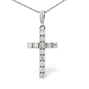 Photo of Cross Pendant 0.22CT Diamond 9K White Gold Jewellery Woman