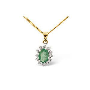 Photo of Emerald & 0.01CT Diamond Pendant 9K Yellow Gold Jewellery Woman