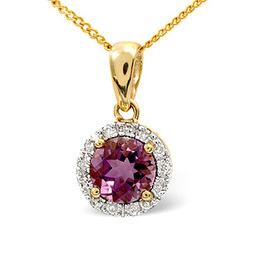 Amethyst & 0.10CT Diamond Pendant 9K Yellow Gold Reviews