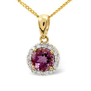 Photo of Amethyst & 0.10CT Diamond Pendant 9K Yellow Gold Jewellery Woman
