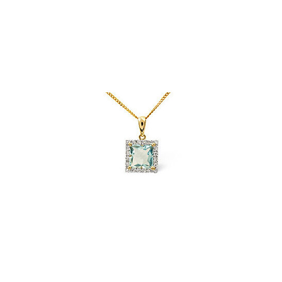 Aqua Marine & 0.17CT Diamond Pendant 9K Yellow Gold