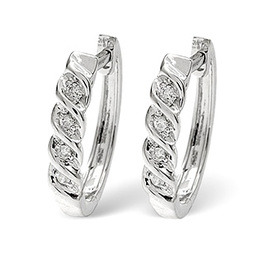 Hoop Earrings 0.07CT Diamond 9K White Gold Reviews
