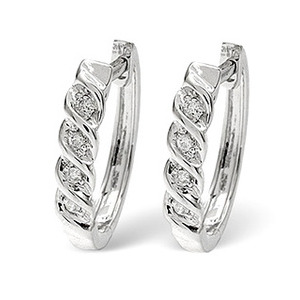 Photo of Hoop Earrings 0.07CT Diamond 9K White Gold Jewellery Woman